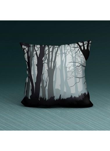 Artikel Renkli Ağaç Desenli Dekoratif Çift Taraflı Yastık Kırlent Kılıfı 45x45 cm Renkli
